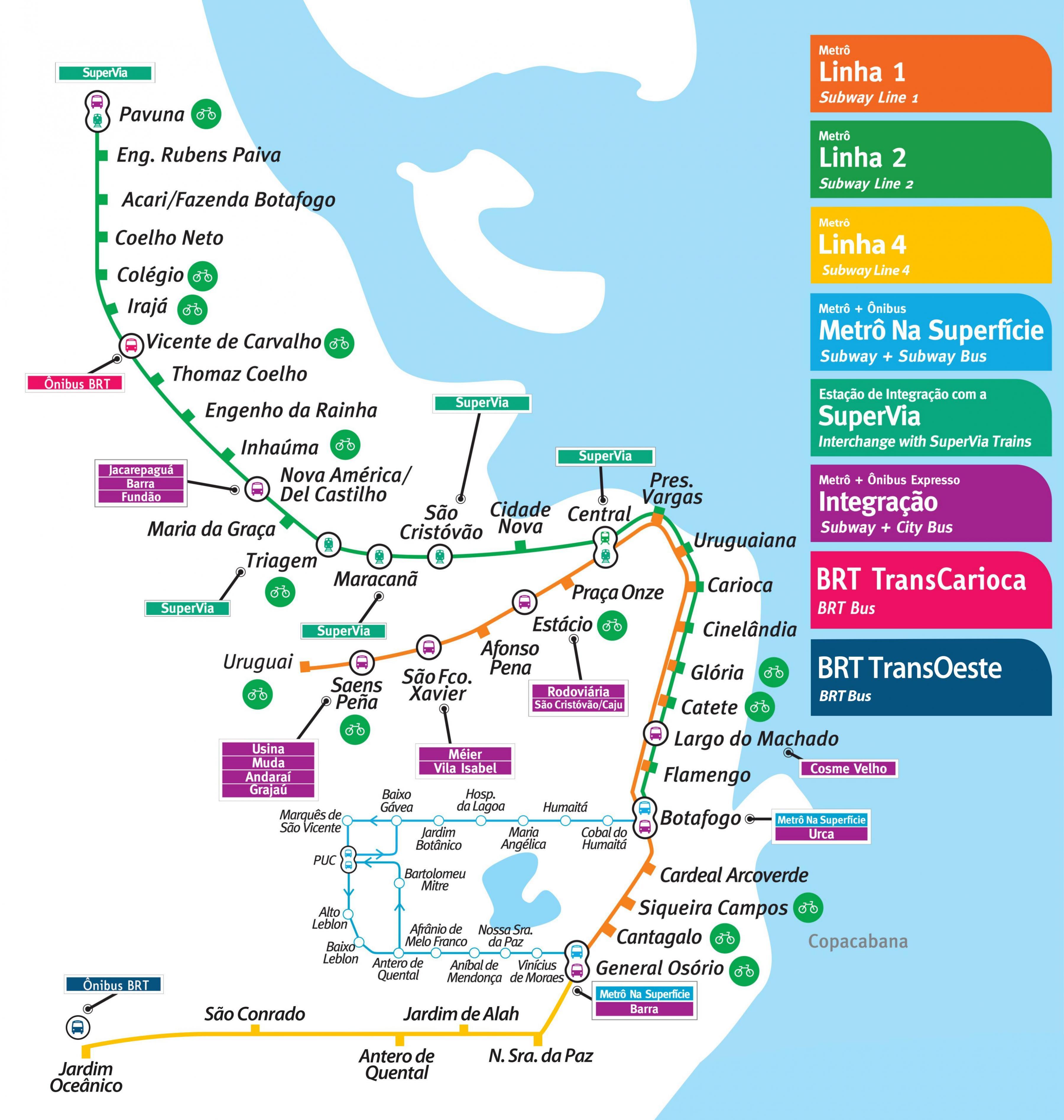 karta rio Rio de Janeiro subway karta   Karta över Rio de Janeiro subway  karta rio